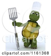 Clipart Of A 3d Tortoise Chef Presenting A Fish Slice Spatula Royalty Free CGI Illustration
