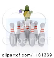 Clipart Of A 3d Tortoise Bowling Royalty Free CGI Illustration
