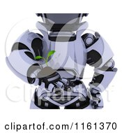 Clipart Of A 3d Cropped Robot Holding A Seedling Plant And Soil Royalty Free CGI Illustration