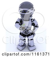 Clipart Of A 3d Robot Holding A Seedling Plant And Soil Royalty Free CGI Illustration