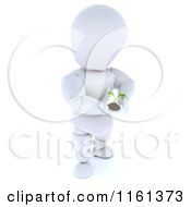 3d Gentle White Character Holding Out A Seedling Plant And Soil