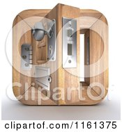 Clipart Of A 3d Open Wood Door Icon Royalty Free CGI Illustration by KJ Pargeter