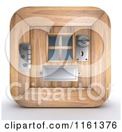 Clipart Of A 3d Wood Door Icon Royalty Free CGI Illustration by KJ Pargeter