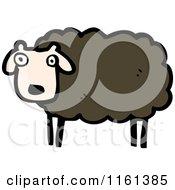Cartoon Of A Black Sheep Royalty Free Vector Illustration
