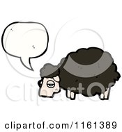 Cartoon Of A Talking Black Sheep Royalty Free Vector Illustration by lineartestpilot