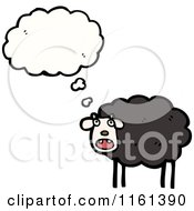 Cartoon Of A Thinking Black Sheep Royalty Free Vector Illustration by lineartestpilot