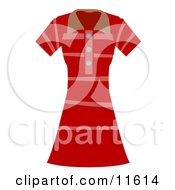 Womans Pink And Red Striped Dress Clipart Picture