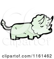Cartoon Of A Green Triceratops Royalty Free Vector Illustration by lineartestpilot