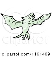 Cartoon Of A Green Pterodactyl Royalty Free Vector Illustration