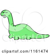 Cartoon Of A Green Apatosaurus Dinosaur Royalty Free Vector Illustration