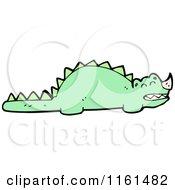 Cartoon Of A Green Dinosaur Royalty Free Vector Illustration