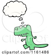Cartoon Of A Thinking Green Tyrannosaurus Rex Royalty Free Vector Illustration by lineartestpilot