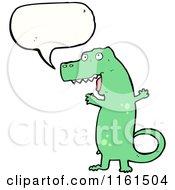 Cartoon Of A Talking Green Tyrannosaurus Rex Royalty Free Vector Illustration