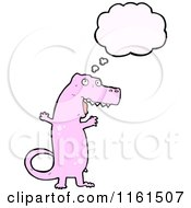Cartoon Of A Thinking Pink Tyrannosaurus Rex Royalty Free Vector Illustration by lineartestpilot