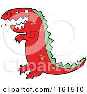 Cartoon Of A Red Tyrannosaurus Rex Royalty Free Vector Illustration by lineartestpilot