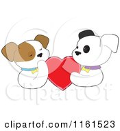 Cartoon Of A Puppy Couple Holding A Red Valentine Heart Royalty Free Vector Clipart by Maria Bell