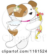 Cartoon Of A Cute Valentine Cupid Puppy With Heart Arrows Royalty Free Vector Clipart