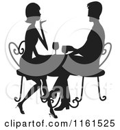 Clipart Of A Silhouetted Couple Drinking Wine At A Table Royalty Free Vector Illustration