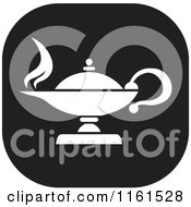 Clipart Of A Black And White Knowledge Oil Lamp Icon Royalty Free Vector Illustration