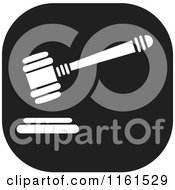 Clipart Of A Black And White Gavel Icon Royalty Free Vector Illustration