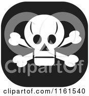 Clipart Of A Black And White Skull And Crossbones Icon Royalty Free Vector Illustration