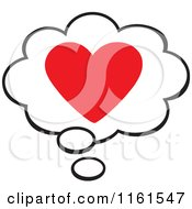 Cartoon Of A Red Valentine Heart In A Thought Balloon Royalty Free Vector Clipart by Johnny Sajem