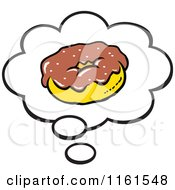 Cartoon Of A Chocolate Donut In A Thought Balloon Royalty Free Vector Clipart by Johnny Sajem