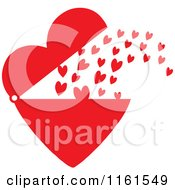 Cartoon Of Red Hearts Shooting Out From A Big Heart Royalty Free Vector Clipart by Johnny Sajem