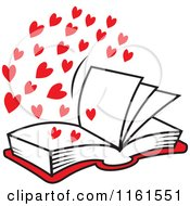Cartoon Of An Open Book Of Love With Red Hearts Royalty Free Vector Clipart