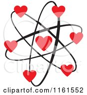 Cartoon Of An Atomic Love Atom With Red Hearts Royalty Free Vector Clipart
