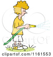Cartoon Of A Happy Blond Woman Watering Her Lawn With A Hose Royalty Free Vector Clipart