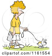 Cartoon Of A Happy Blond Woman Waiting To Pick Up Her Dogs Poop Royalty Free Vector Clipart by Johnny Sajem