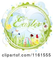 Clipart Of A Happy Easter Greeting With Eggs Flowers And Butterflies In A Ring With Bubbles Royalty Free Vector Illustration