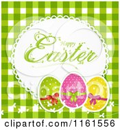 Clipart Of A Happy Easter Greeting With Polka Dot Eggs And Vines Over Green Gingham Royalty Free Vector Illustration