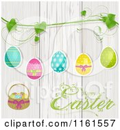 Clipart Of A Happy Easter Greeting With Eggs Suspended From A Vine Over White Washed Wood Royalty Free Vector Illustration