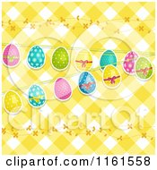 Clipart Of Easter Eggs And Vines Over Yellow Gingham Royalty Free Vector Illustration