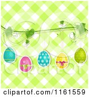Clipart Of Easter Eggs Hanging From A Vine Over Green Gingham Royalty Free Vector Illustration