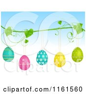 Clipart Of Polka Dot And Floral Easter Eggs Suspended From A Vine Royalty Free Vector Illustration