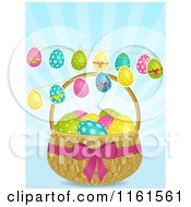 Clipart Of Easter Eggs Suspended Over A Basket Over Blue Rays Royalty Free Vector Illustration