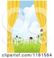 Clipart Of A Yellow Window Drapes Tied To The Side With A View Of Spring Flowers And Butterflies Royalty Free Vector Illustration