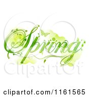 Green Floral Spring Text With A Butterfly