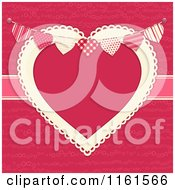 Clipart Of A Bunting Over A Doily Heart Frame On Pink With A Ribbon Royalty Free Vector Illustration