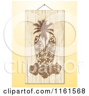 Clipart Of A Hanging Wooden Surfboard Hibiscus And Palm Tree Sign Over Yellow Royalty Free Vector Illustration by elaineitalia