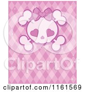 Cartoon Of A Girly Skull With Heart Eyes Over Pink Royalty Free Vector Clipart