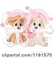 Cartoon Of A Cute Puppy Couple Sharing A Valentines Day Bone Royalty Free Vector Clipart