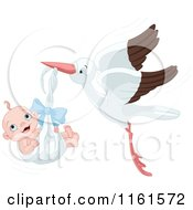 Cartoon Of A Happy Baby Boy In A Stork Bundle Royalty Free Vector Clipart by Pushkin