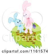 Cartoon Of Easter Bunnies Holding Hands Royalty Free Vector Clipart by Cherie Reve
