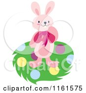 Cartoon Of A Pink Easter Bunny On Polka Dots Royalty Free Vector Clipart by Cherie Reve
