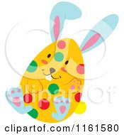 Cartoon Of A Blue Easter Bunny Playing In A Polka Dot Egg Shell 4 Royalty Free Vector Clipart by Cherie Reve