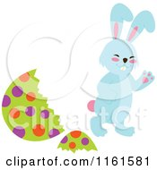 Cartoon Of A Blue Easter Bunny Waving By A Polka Dot Egg Shell Royalty Free Vector Clipart by Cherie Reve